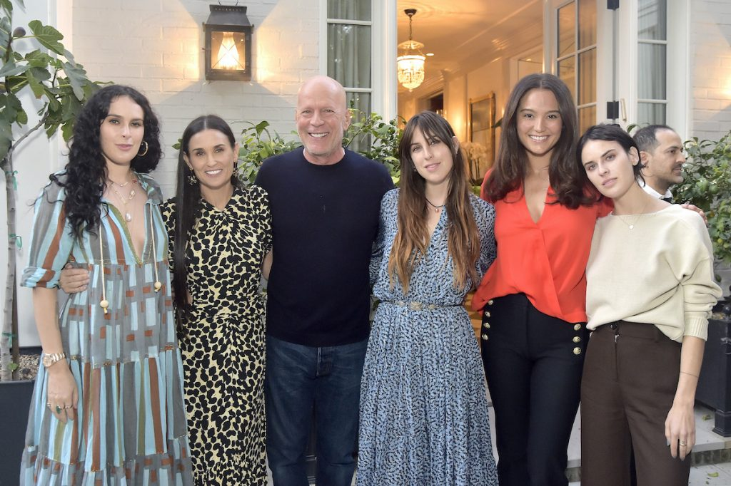Rumer Willis, Demi Moore, Bruce Willis, Scout Willis, Emma Hemming Willis, and Tallullah Willis.  Stephanie Keenan / Getty Images for Goff