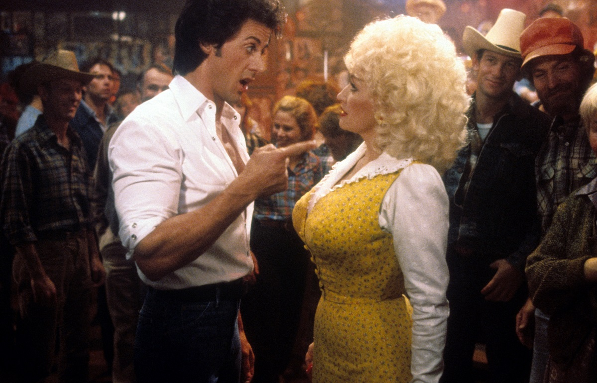 Sylvester Stallone and Dolly Parton in 'Rhinestone'