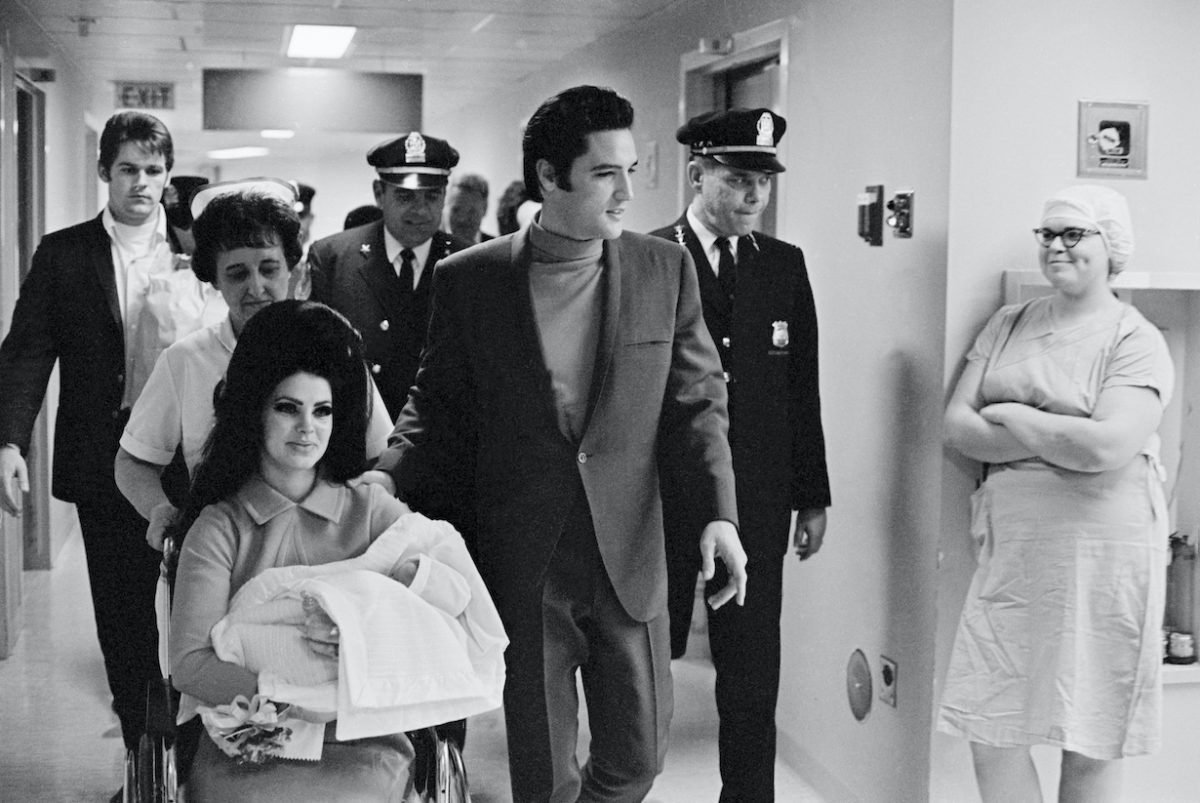 Elvis with Wife and Daughter at Hospital