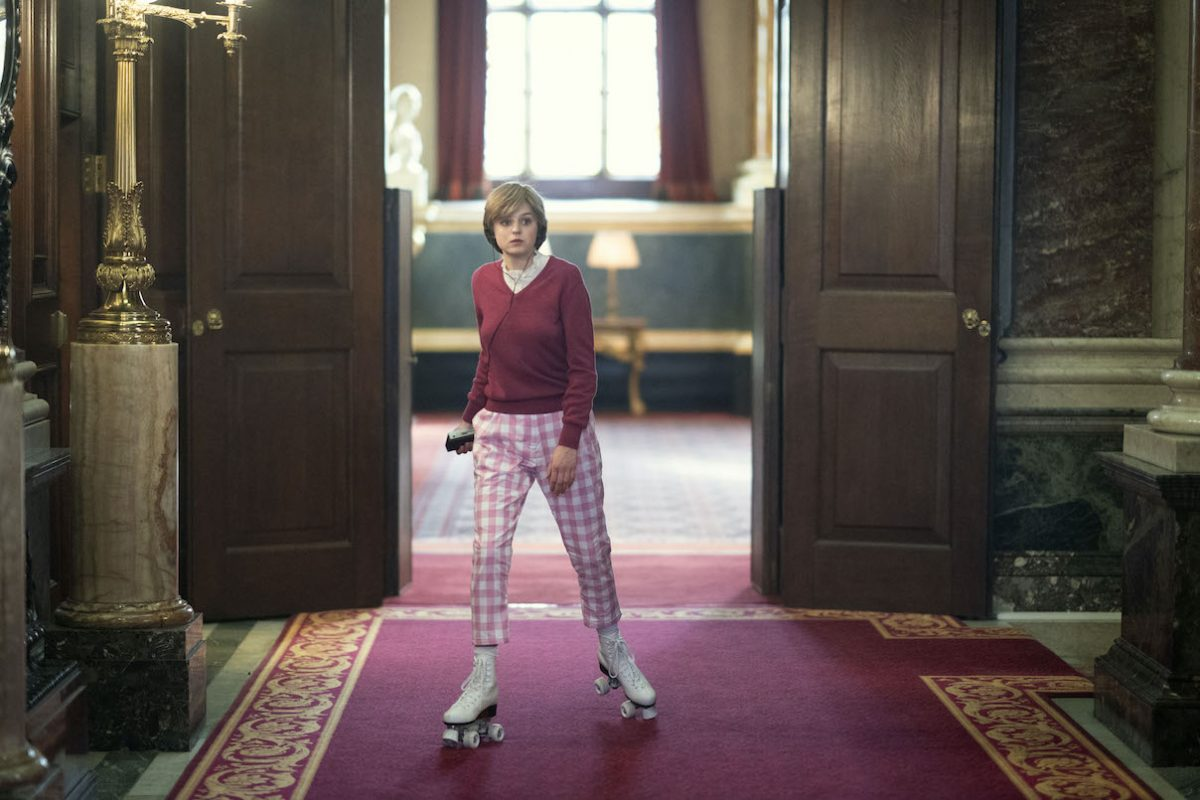 Emma Corrin rollerskates as Princess Diana in 'The Crown' Season 4