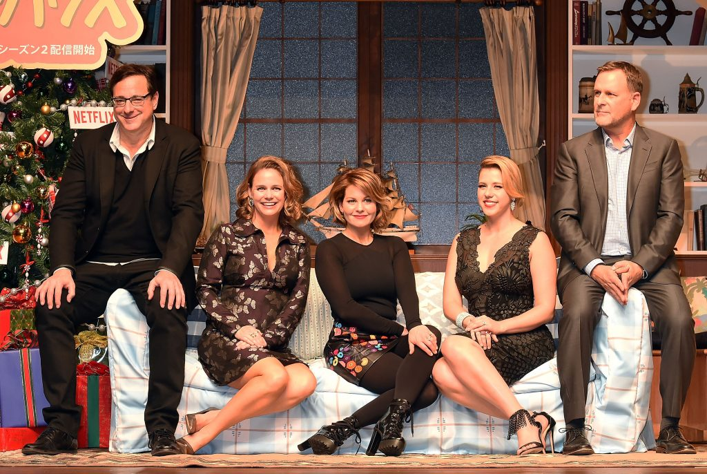 Actor Dave Coulier, Jodie Sweetin, Candace Cameron Bure, Andrea Barber, and Bob Saget of 'Fuller House'