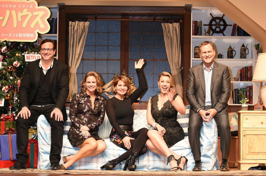 Actor Dave Coulier, Jodie Sweetin, Candace Cameron Bure, Andrea Barber, and Bob Saget of 'Fuller House: Season 2'