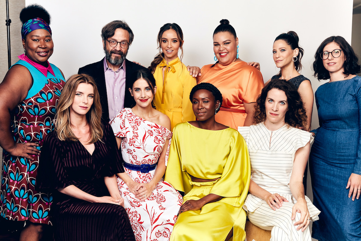 Kia Stevens, Marc Maron, Britt Baron, Britney Young, creator Carly Mensch actors Betty Gilpin, Alison Brie, Sydelle Noel and creator Liz Flahive of Netflix's 'Glow'
