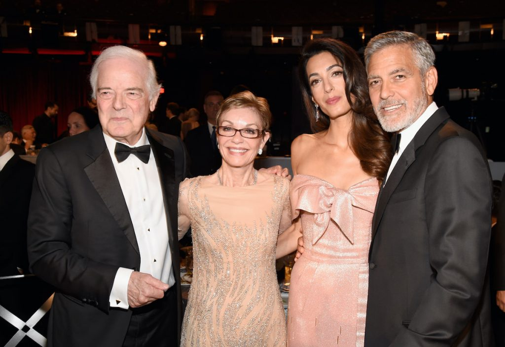 George Clooney with parents Nick Clooney and Nina Bruce Warren and wife Amal Clooney at the Dolby Theatre on June 7, 2018 in Hollywood, California | Kevin Mazur/Getty Images for Turner