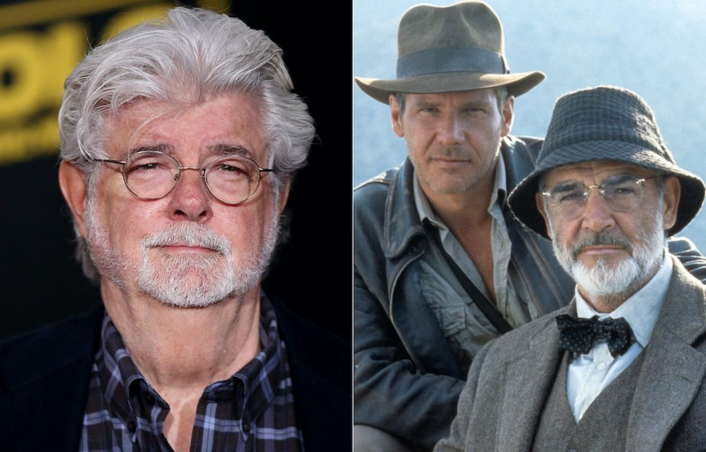 George Lucas (left) and Harrison Ford and Sean Connery in 'Indiana Jones and the Last Crusade' (right)   Phillip Faraone/WireImage/Paramount/Getty Images