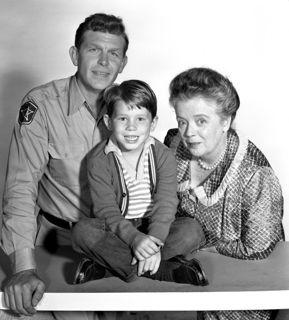 Ron Howard, center, with Andy Griffith and Frances Bavier of 'The Andy Griffith Show'
