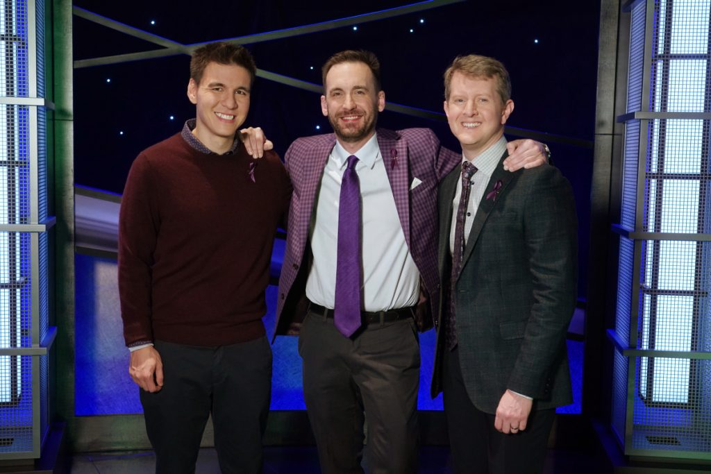 'Jeopardy!'s Greatest of All Time contestants, left to right: James Holzhauer, Brad Rutter, and Ken Jennings