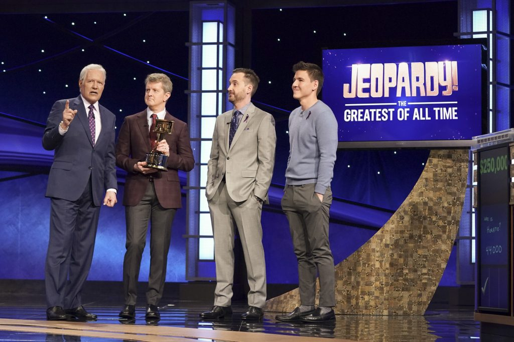 Alex Trebek with Ken Jennings, Brad Rutter, and James Holzhauer during the 'Greatest of All Time' tournament