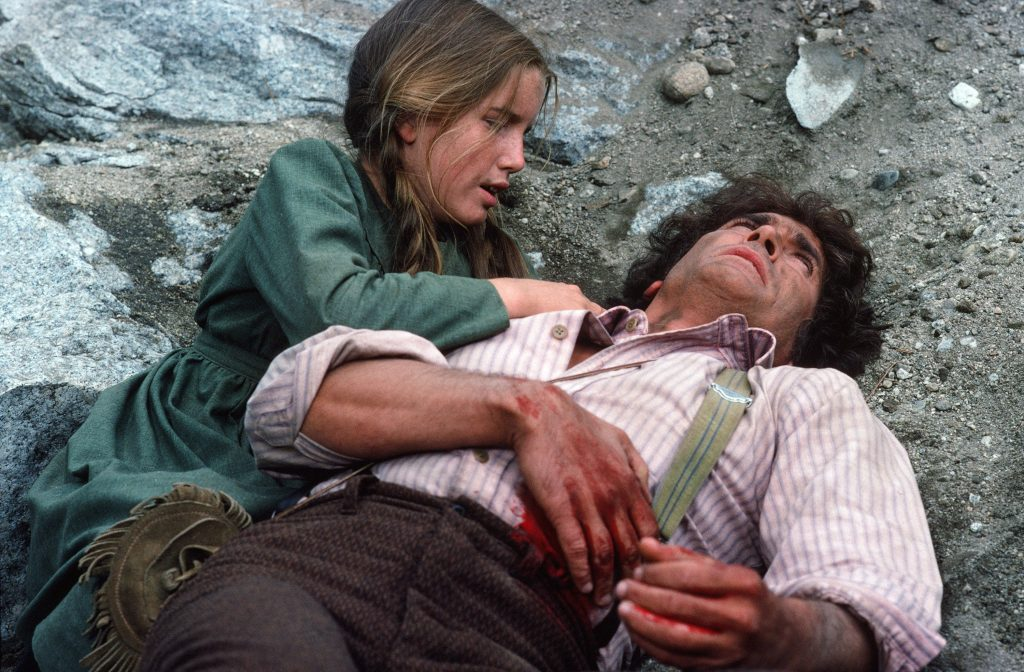 Melissa Gilbert, left, with Michael Landon in a scene from 'Little House on the Prairie', 1976