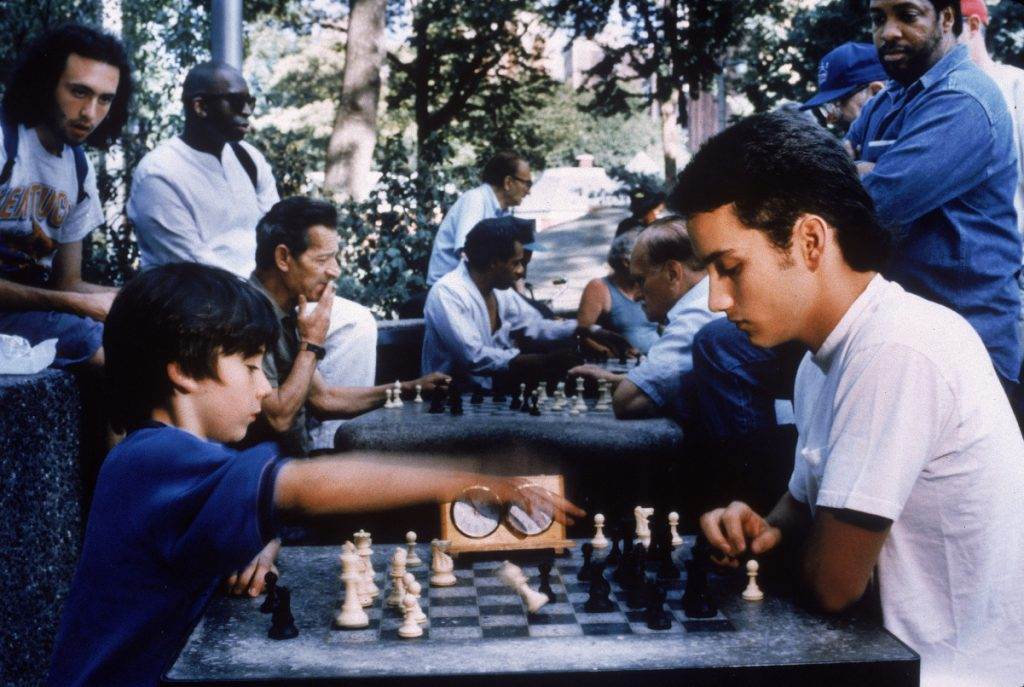 Max Pomeranc (left) as chess prodigy Josh Waitzkin in a scene from 1993's 'Searching For Bobby Fischer'