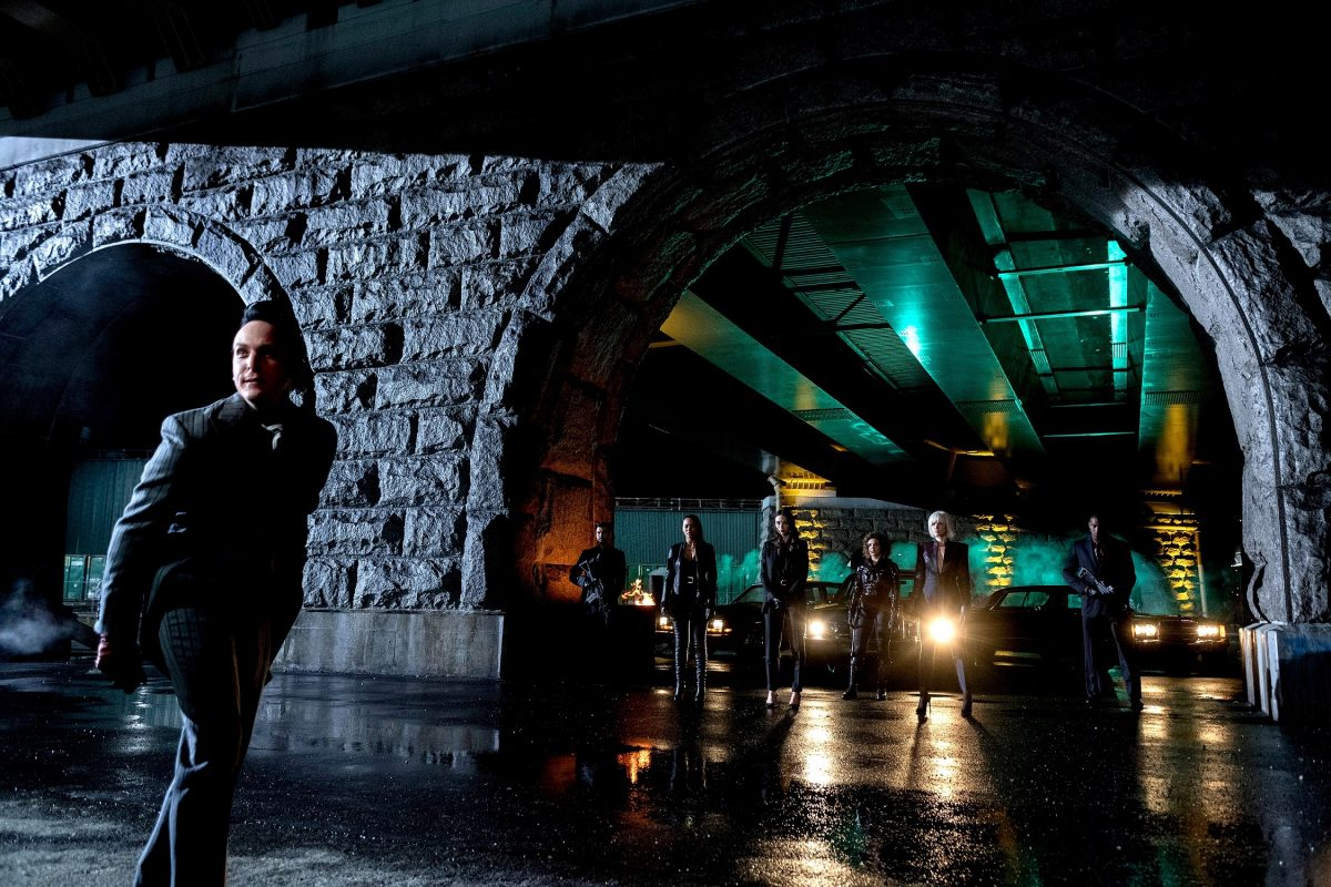 Robin Lord Taylor, Jessica Lucas, Crystal Reed, Camren Bicondova and Erin Richards in 'Gotham'