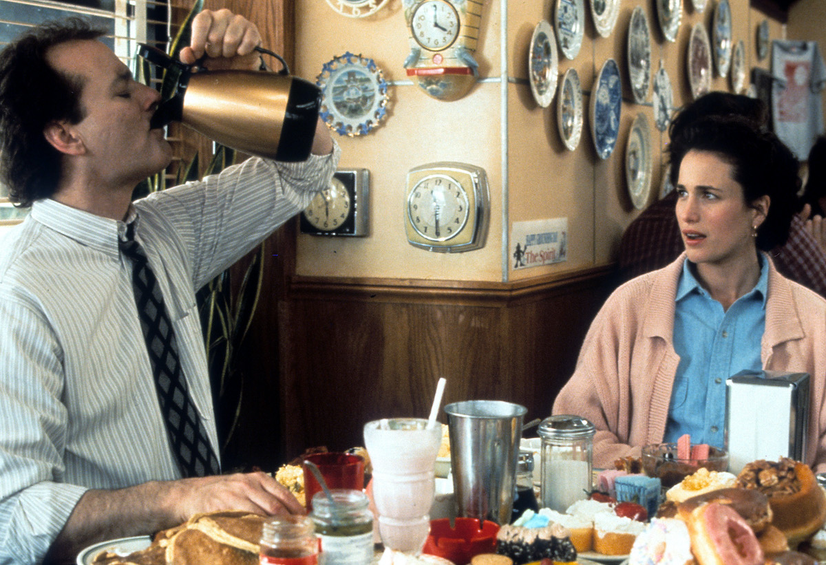 Bill Murray and Andie MacDowell in a scene from the film 'Groundhog Day', directed by Harold Ramis