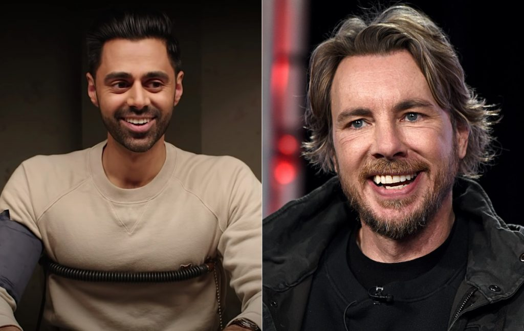 Hasan Minhaj in Vanity Fair's lie detector YouTube series (left) and Dax Shepard (right)   YouTube/Amanda Edwards/Getty Images for Discovery, Inc.