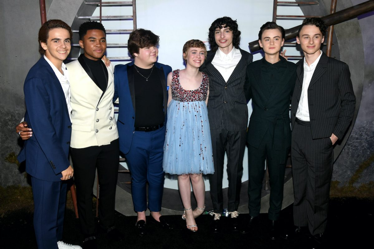 """Jack Dylan Grazer, Chosen Jacobs, Jeremy Ray Taylor, Sophia Lillis, Finn Wolfhard, Jaeden Martell, and Wyatt Oleff attend the Premiere of Warner Bros. Pictures' """"It Chapter Two"""""""