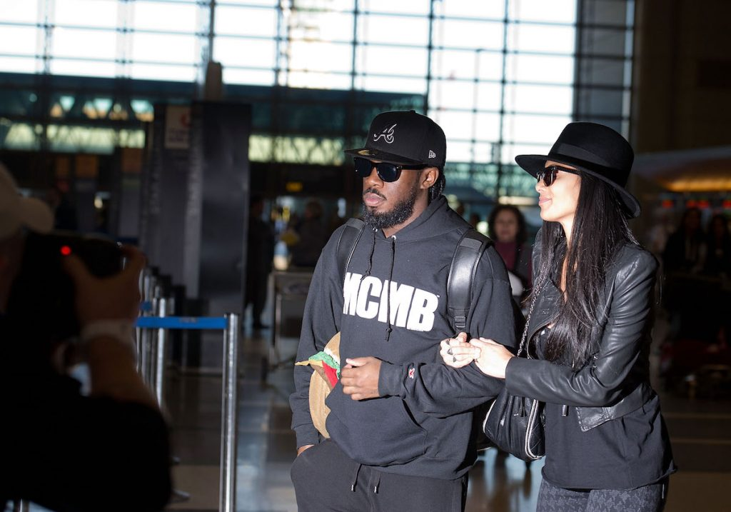 Jaquel Knight and Nicole Scherzinger are seen at Los Angeles International Airport   HM/Bauer-Griffin/GC Images