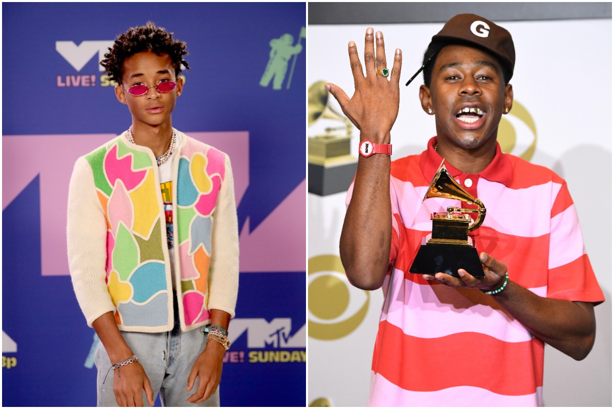 Jaden Smith attends the 2020 MTV Video Music Awards, broadcast on Sunday, August 30th 2020./ Tyler the Creator poses at the 62nd Annual GRAMMY Awards at Staples Center on January 26, 2020 in Los Angeles, California.