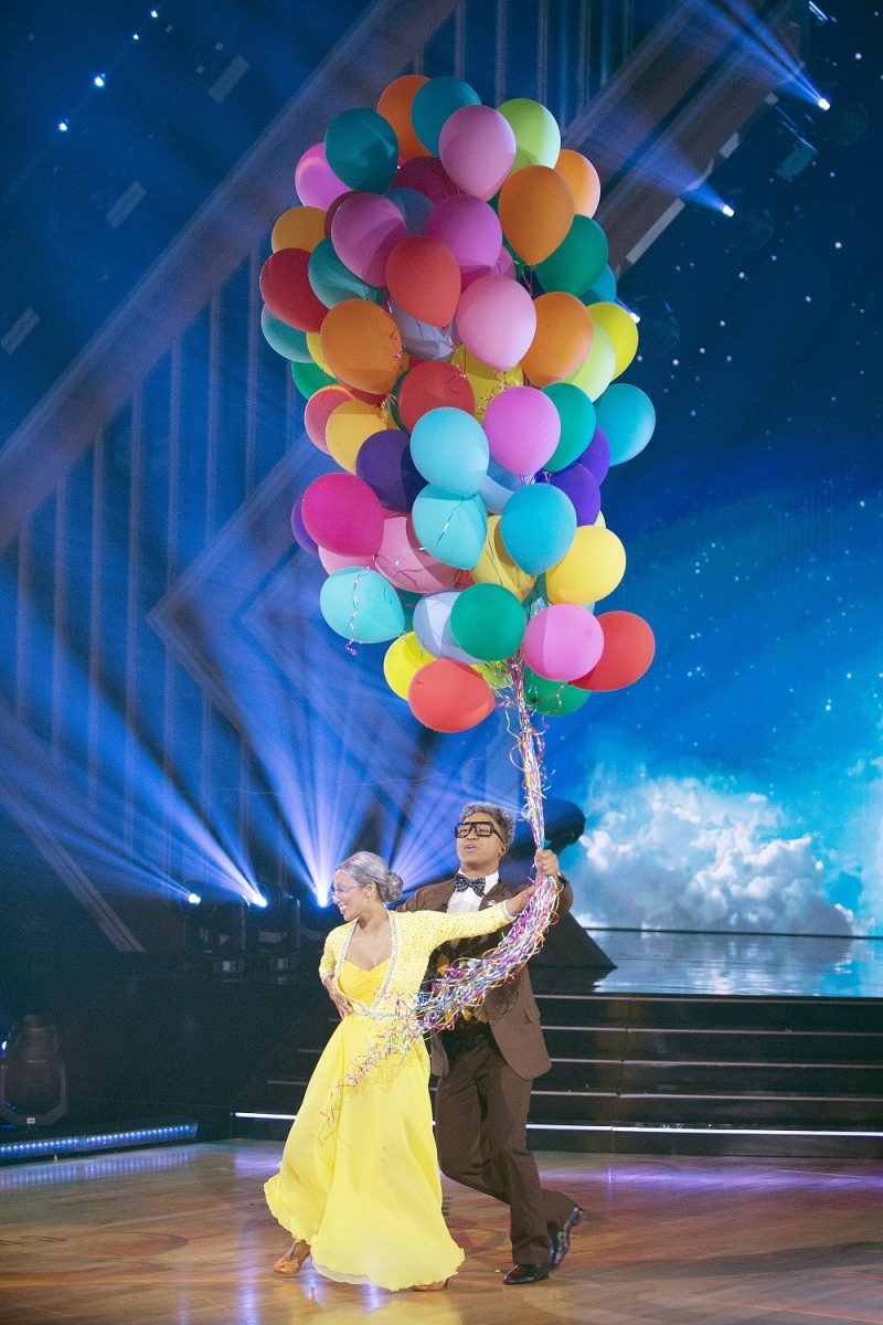 Jeannie Mai and Brandon Armstrong perform during Disney Night on 'Dancing With the Stars'