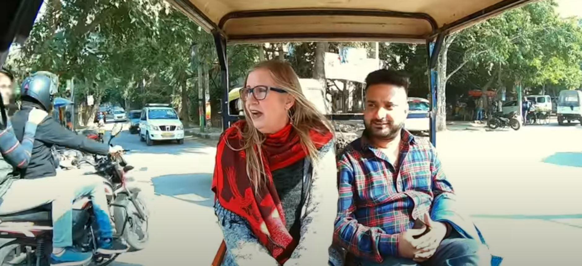 Jenny and Sumit on a rickshaw on '90 Day Fiancé'