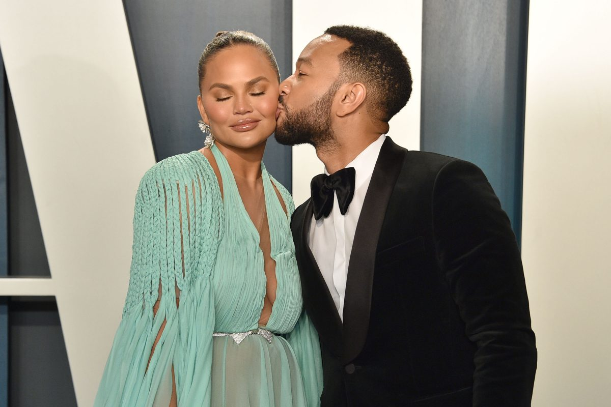 Chrissy Teigen and John Legend attend the 2020 Vanity Fair Oscar Party at Wallis Annenberg Center for the Performing Arts