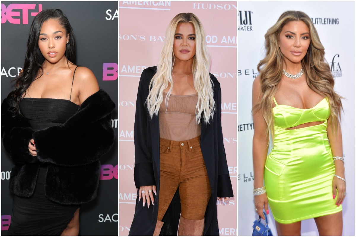 """Jordyn Woods attends BET+ And Footage Film's """"Sacrifice"""" Premiere Event at Landmark Theatre on December 11, 2019 in Los Angeles, California./Khloe Kardashian attends Hudson's Bay's launch of Good American/Larsa Pippen attends The Daily Front Row Fashion LA Awards 2019 on March 17, 2019 in Los Angeles, California. in Toronto on September 18, 2019/"""