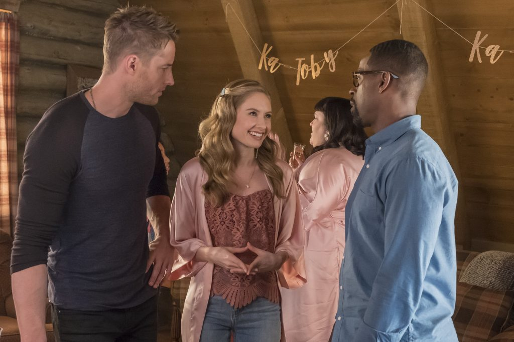 'This Is Us' Justin Hartley as Kevin, Caitlin Thompson as Madison, and Sterling K. Brown as Randall