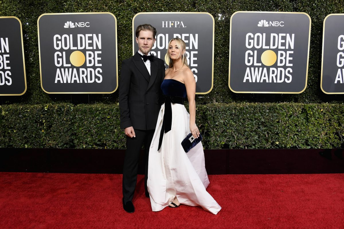 Kaley Cuoco and Karl Cook at the Golden Globes
