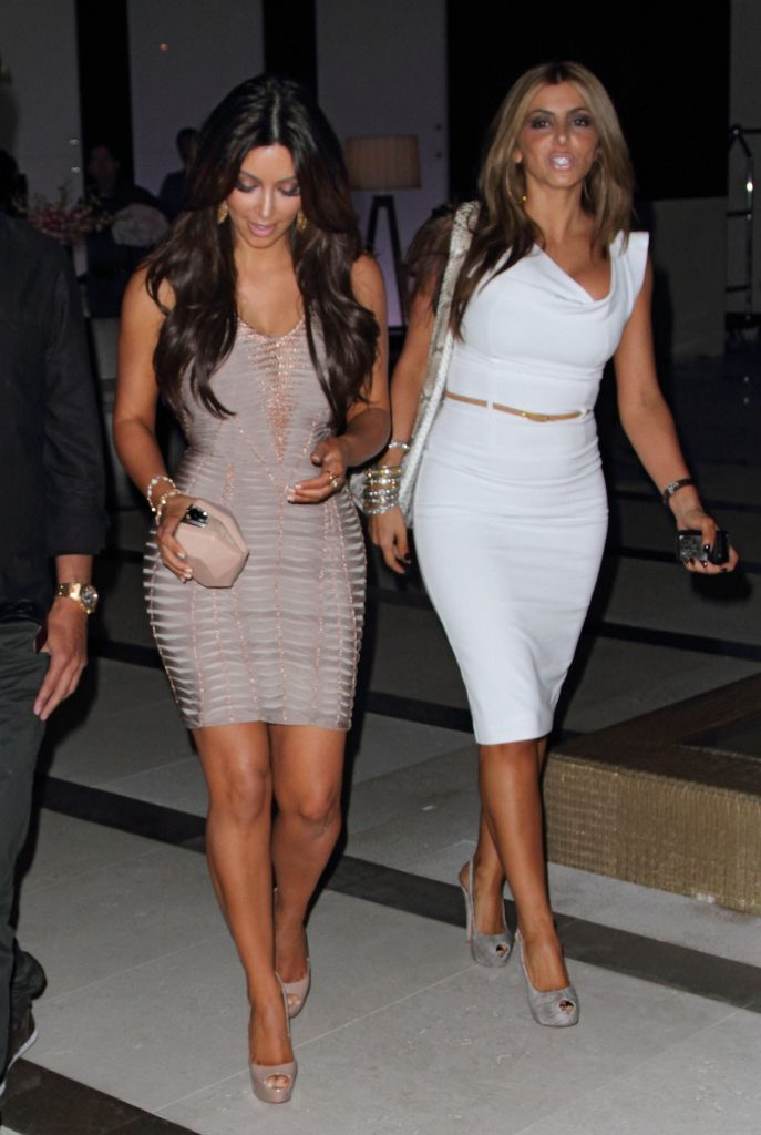 Kim Kardashian and Larsa Pippen arrive at Zuma Japanese Restaurant at the EPIC Hotel on February 2, 2012