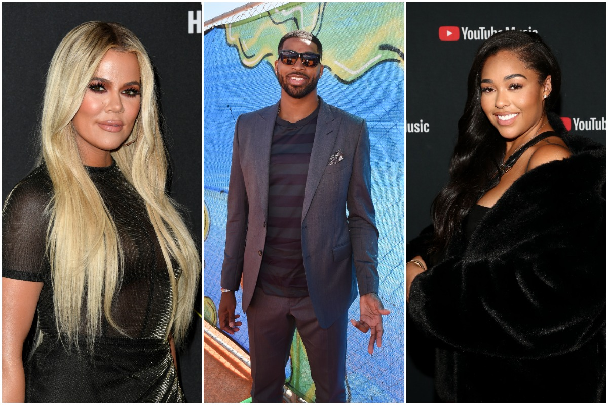 Khloé Kardashian attends the 2019 E! People's Choice Awards at Barker Hangar on November 10, 2019 in Santa Monica, California./ NBA player Tristan Thompson attends the Nickelodeon Kids' Choice Sports Awards 2016 at UCLA's Pauley Pavilion on July 14, 2016 in Westwood, California./Jordyn Woods attends A Celebration of The Fearless Women in Music Hosted by YouTube Music and Megan Thee Stallion at Spring Studios on December 11, 2019 in Los Angeles, California.