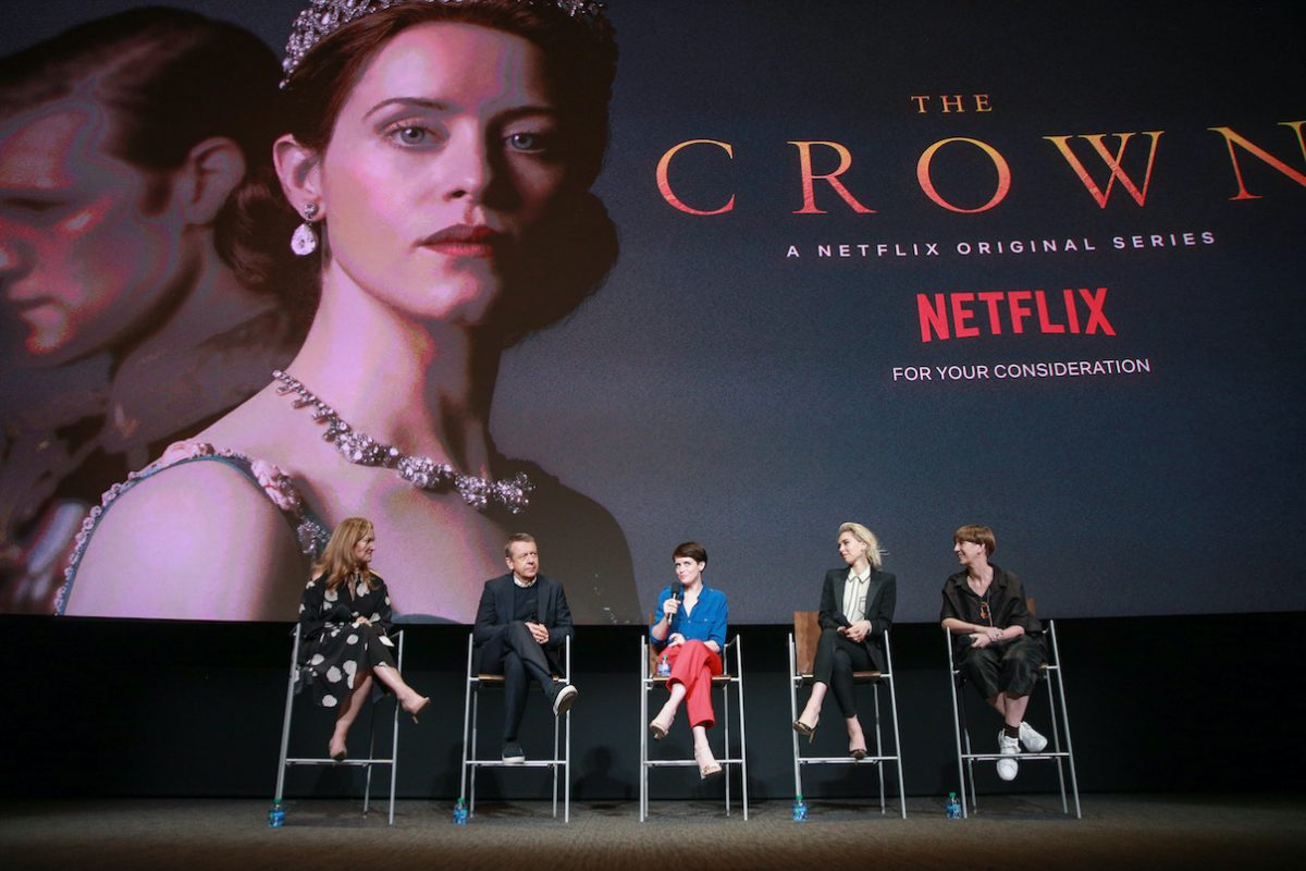 Krista Smith, Peter Morgan, Claire Foy, Vanessa Kirby, and Jane Petrie speak onstage at For Your Consideration event for 'The Crown'