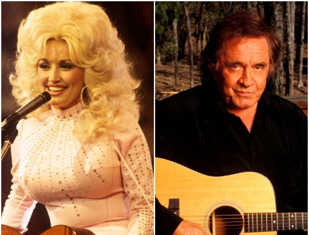 (L): Dolly Parton, (R): Johnny Cash