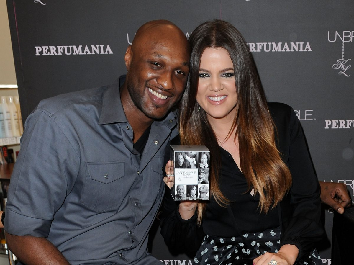 """Lamar Odom and Khloe Kardashian Odom make a personal appearance to promote their """"Unbreakable Bond"""" fragrance at Perfumania on June 7, 2012 in Orange, California."""