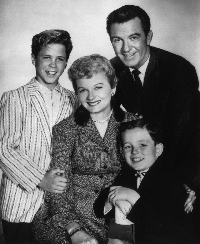 Tony Dow, Hugh Beaumont, Jerry Mathers, and Barbara Billingsley appear in a promotional photo for 'Leave It to Beaver'