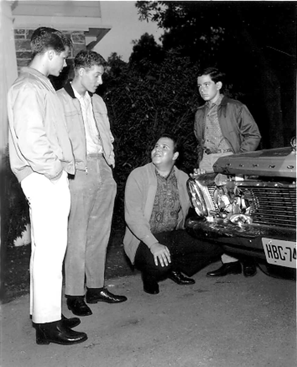 Tony Dow as Wally Cleaver, Ken Osmond as Eddie Haskell, Frank Bnak as Clarence 'Lumpy' Rutherford and Jerry Mathers as Beaver Cleaver in a scene for 'Leave It to Beaver'