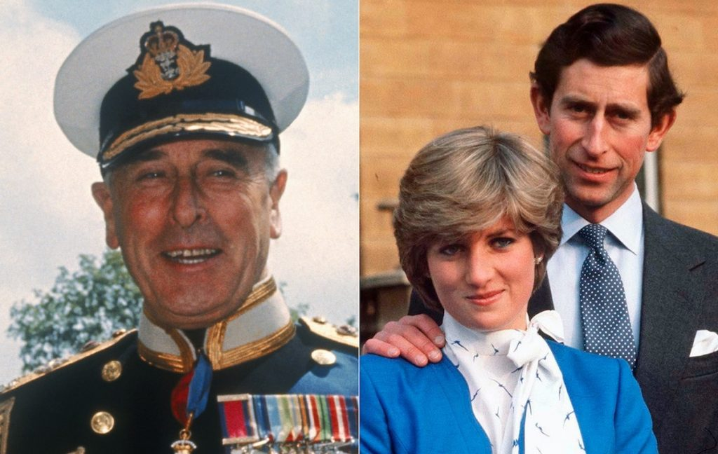 Lord Louis Mountbatten (left) and Prince Charles and Princess Diana (right) | Keystone/Hulton ArchiveTim Graham Photo Library/Getty Images