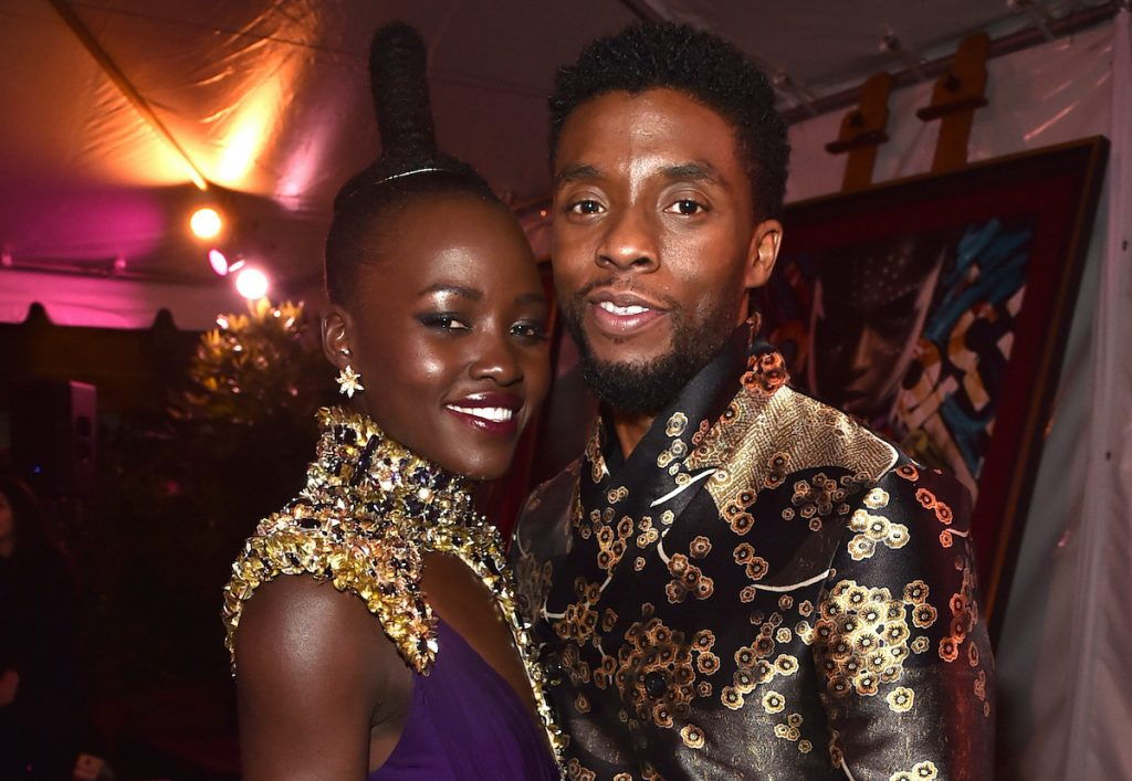 Lupita Nyong'o and Chadwick Boseman at the Los Angeles World Premiere of 'BLACK PANTHER' at the Dolby Theatre on January 29, 2018 | Alberto E. Rodriguez/Getty Images for Disney