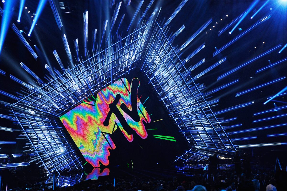 MTV Logo is seen onstage during the 2015 MTV Video Music Awards
