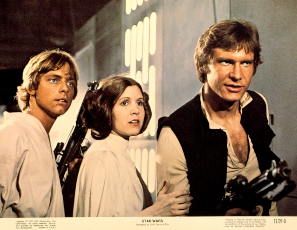 Mark Hamill, Carrie Fisher, and Harrison Ford of 'Star Wars'