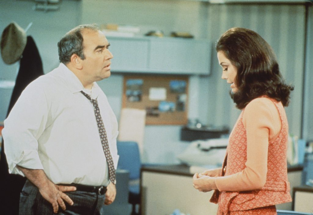 Mary Tyler Moore as Mary Richards and Ed Asner as Lou Grant on 'The Mary Tyler Moore Show'