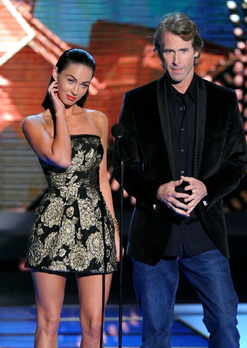 Megan Fox and Michael Bay onstage during the 2009 MTV Movie Awards in 2009
