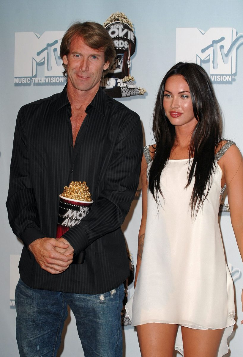 Michael Bay and actress Megan Fox in the press room at the 2008 MTV Movie Awards on June 1, 2008