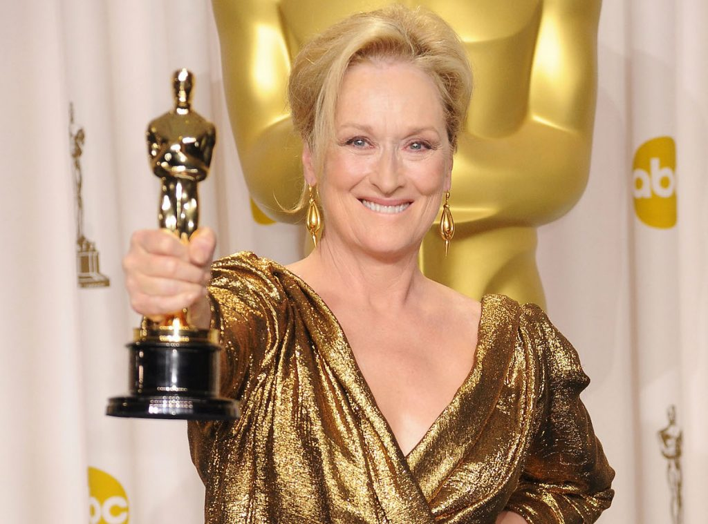 Meryl Streep poses with her Oscar statuette at the 84th Annual Academy Awards in 2012 | Jeff Kravitz/FilmMagic
