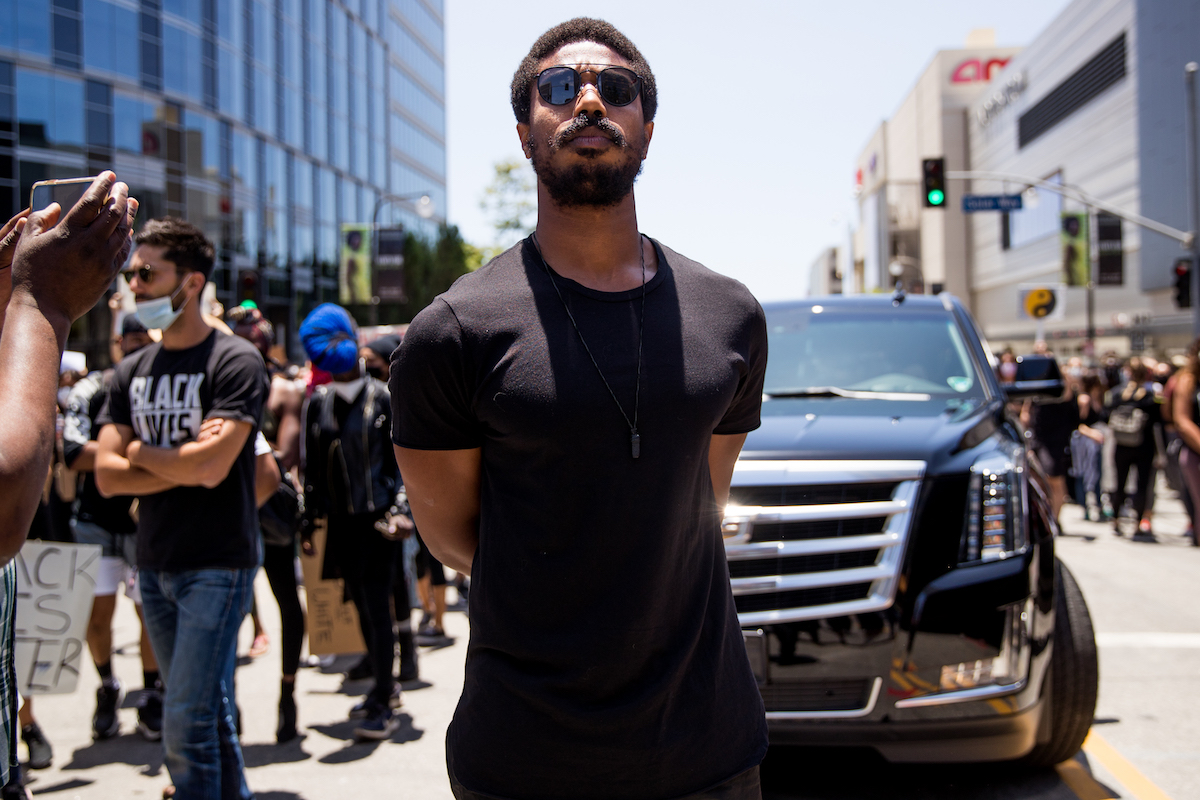 Michael B. Jordan participates in the Hollywood talent agencies march to support Black Lives Matter protests