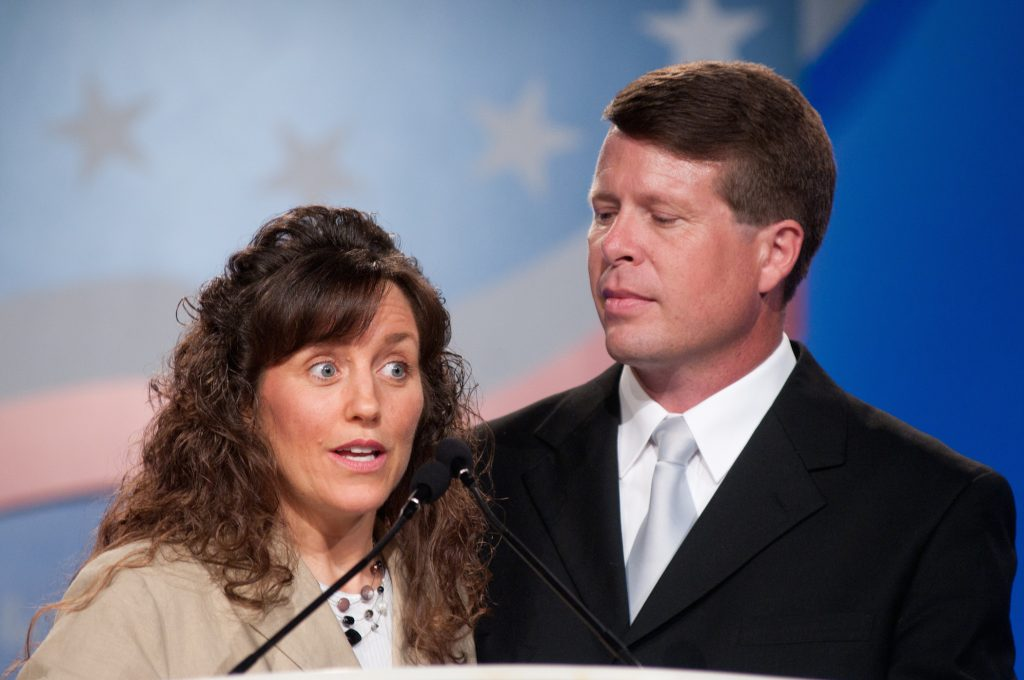 Michelle Duggar and Jim Bob Duggar speak during the 5th Annual Values Voter Summit
