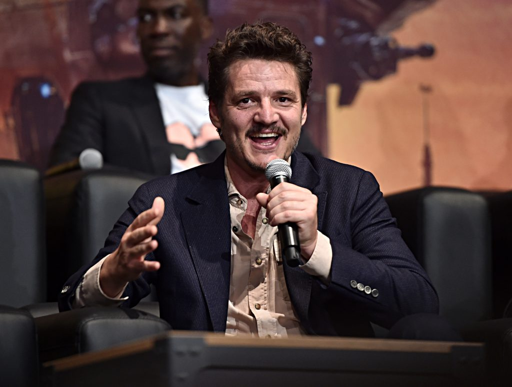 Pedro Pascal speaks onstage at the premiere of Lucasfilm's first-ever, live-action series, 'The Mandalorian'