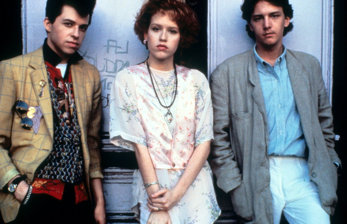 Jon Cryer, Molly Ringwald and Andrew McCarthy on set of the film 'Pretty In Pink', 1986