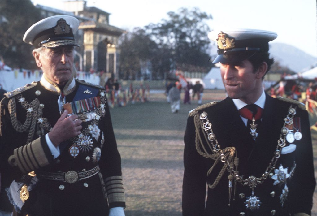 Prince Charles and Lord Louis Mountbatten visiting Nepal in 1975 to attend the coronation of King Birendra | Anwar Hussein/WireImage