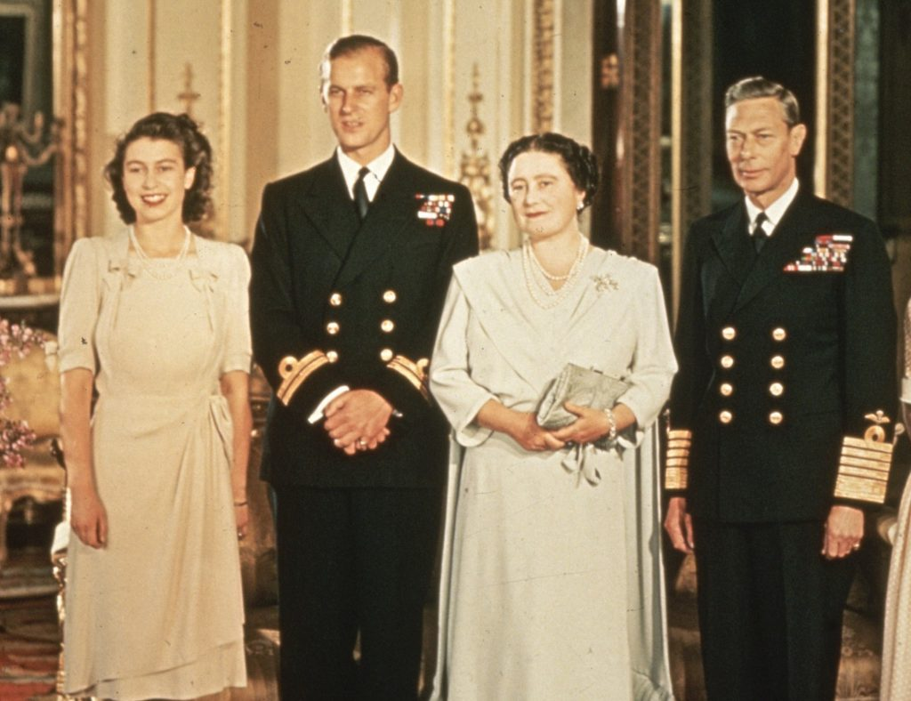Princess Elizabeth, Prince Philip, the Queen Mother, and King George VI