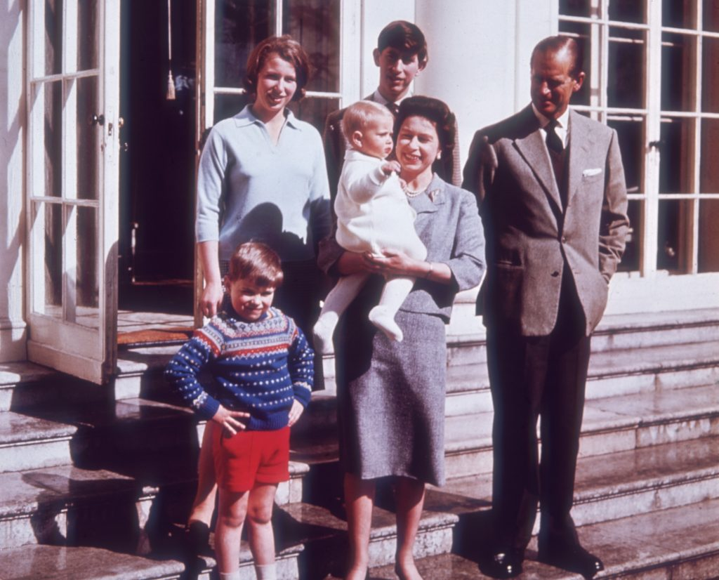 Queen Elizabeth II and Prince Philip with their children, Prince Charles, Princess Anne, Prince Andrew, and Prince Edward