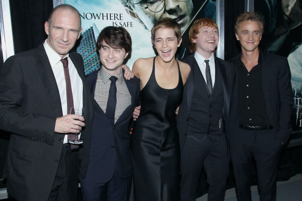 Ralph Fiennes, Daniel Radcliffe, Emma Watson, Rupert Grint, and Tom Felton at the premiere of 'Harry Potter and the Deathly Hallows'