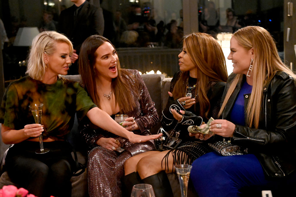 (L-R) Whitney Rose, Meredith Marks, Mary Cosby, Heather Gay laughing, holding drinks